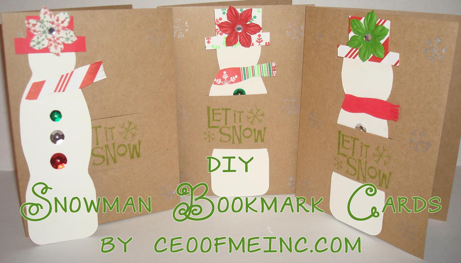 Diy Christmas Cards Snowman Bookmark Diy Christmas Card Craft Tutorial