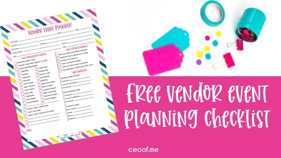 Free Vendor Event Planning Checklist Direct Sales Network Marketing