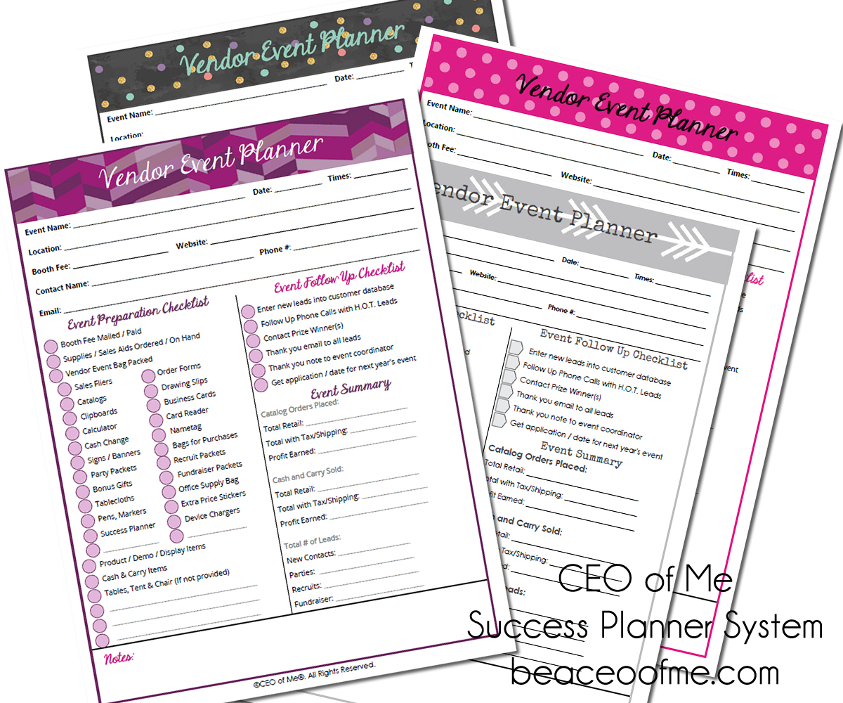 vendor event planner pages