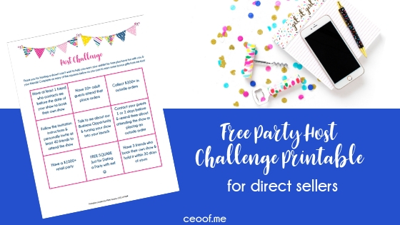 Free Party Host Challenge Printable Direct Sales Network Marketing