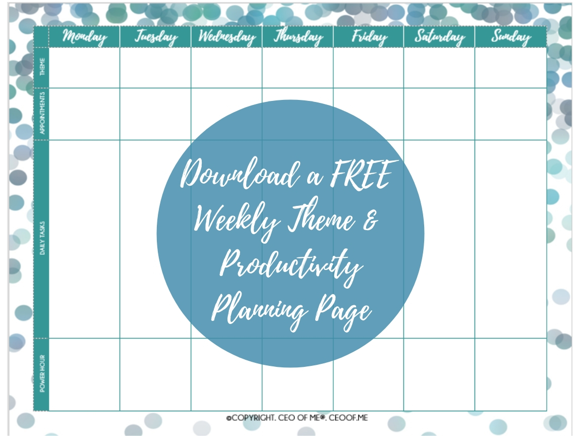 Download a FREE Weekly Theme & Productivity Planning Page