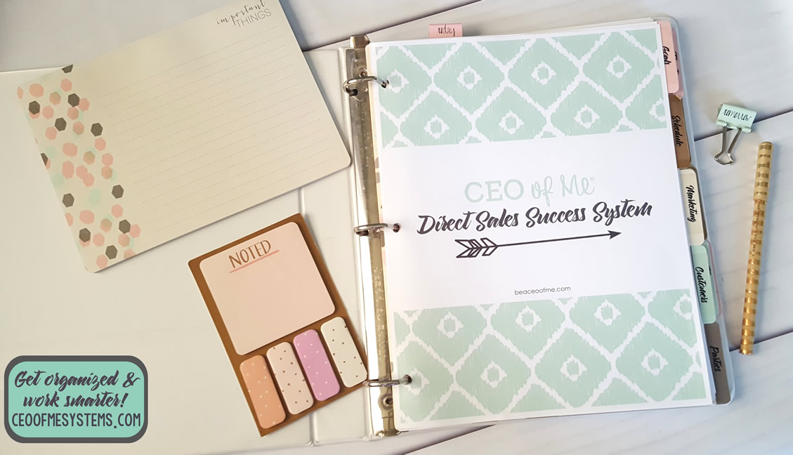 Direct Saless Success System Planner by CEO of Me - Get 5 Different Designs, 110+ Planning Pages & Worksheets, Systems Training Course + More!