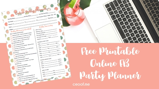Free Printable Online Facebook Party Planner Direct Sales Online Party