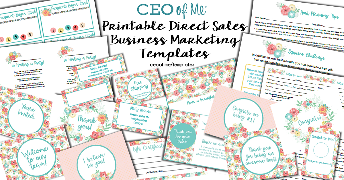 Printable Direct Sales Marketing Templates Floral Blooms Design