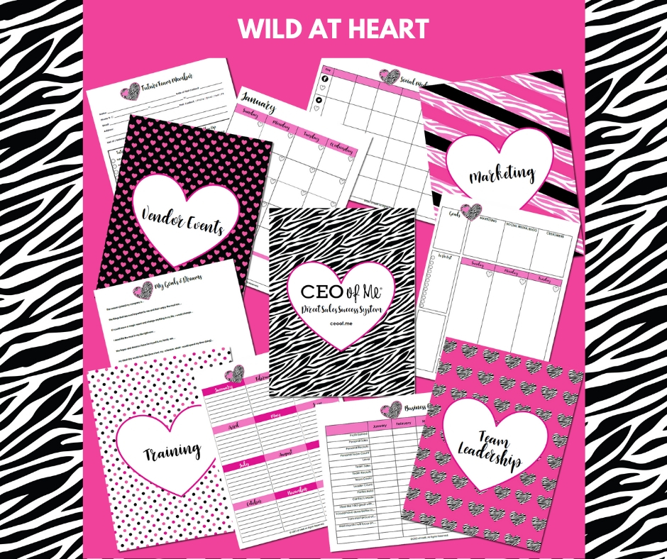 Wild at Heart Zebra Direct Sales Success System Toolkit CEO of Me